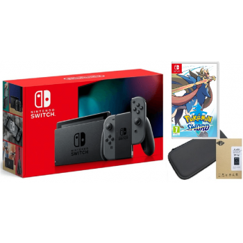 NINTENDO SWITCH GREY + ETUI +SZKŁO + POKEMON SWORD