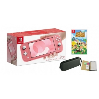 NINTENDO SWITCH LITE CORAL PINK + ANIMAL CROSSING